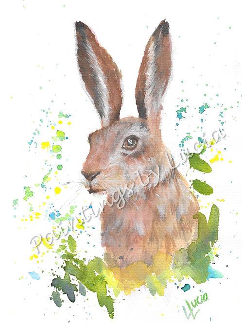 A4 Hare Watercolour Original