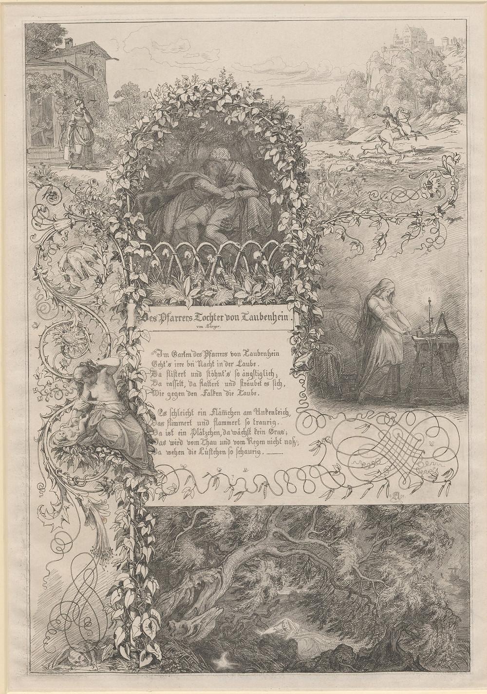 Eugen Napoleon Neureuther, Des Pfarrers Tochter von Taubenhein (!) von Bürger, 1835, 1844