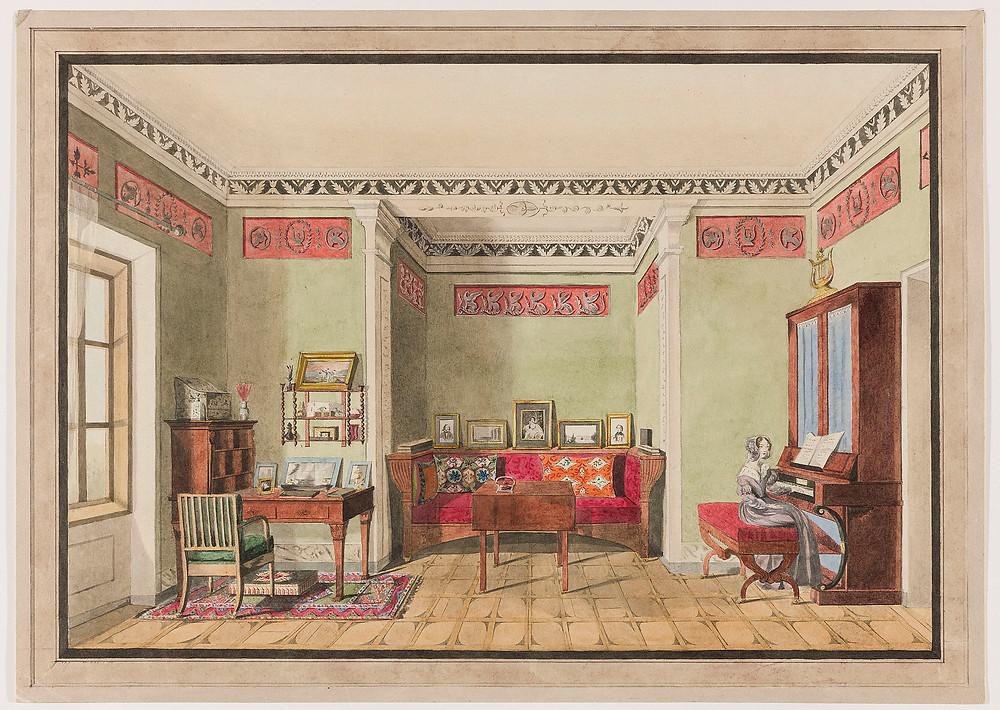 Aleksandra Radziwiłłowa née Stecka, Shpaniv. Sitting room with niche, after 1850