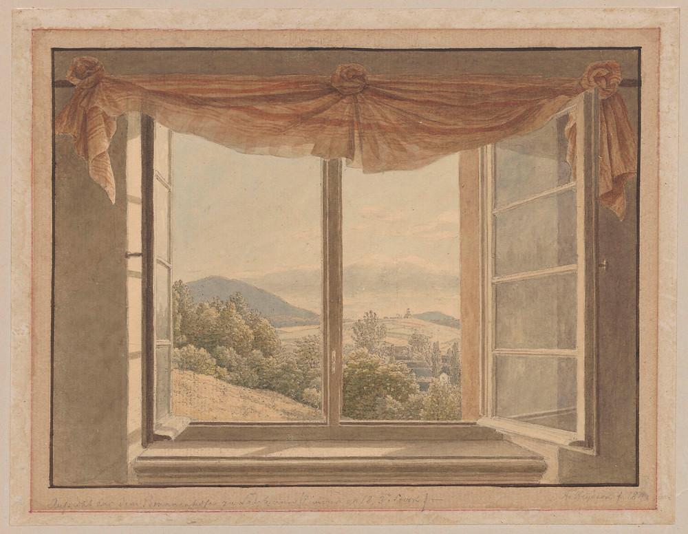 Adolf von Heydeck, View from the window the spa house in Szczawno-Zdrój (Salzbrunn)