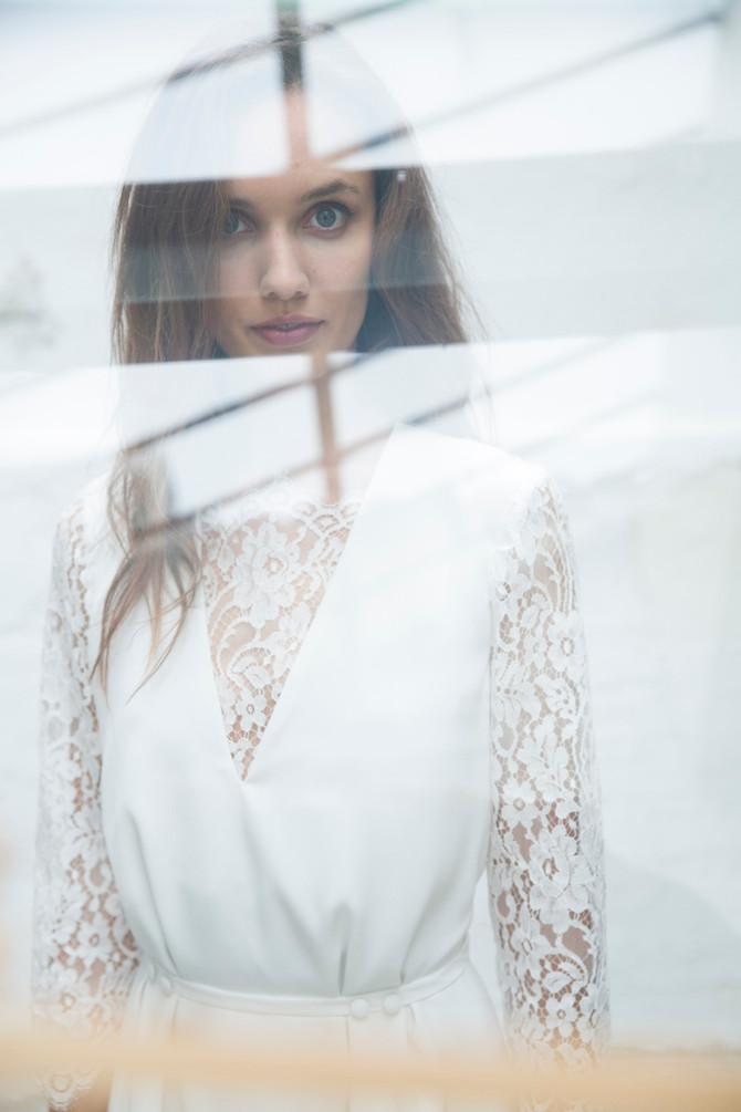 Hélène Perry shoote la nouvelle collection de robes de mariés de Sylvie Mispouillé