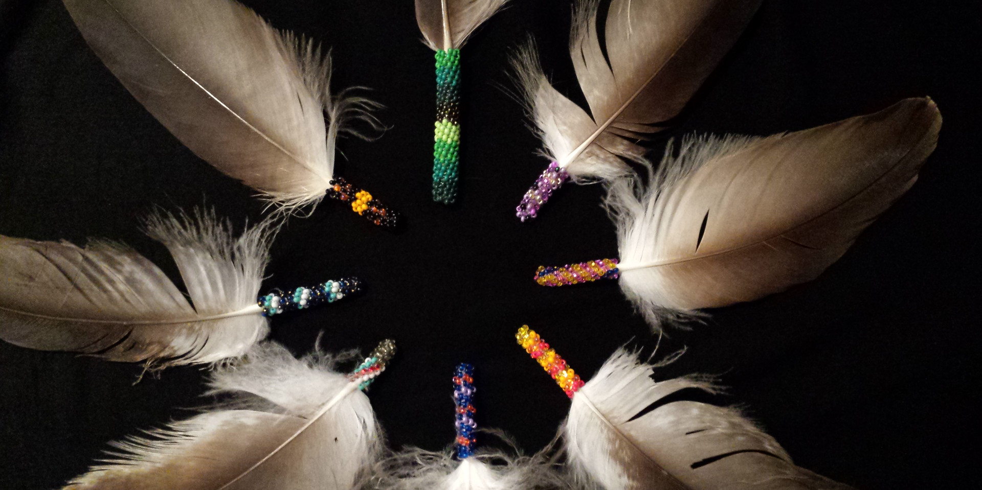 Custom Beaded Feathers