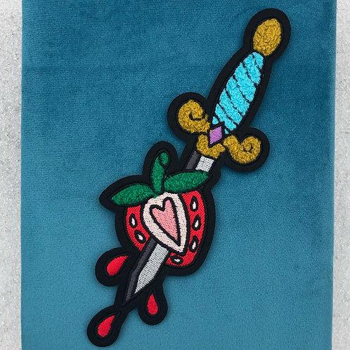 Bleeding Heart and Dagger Chenille Patch