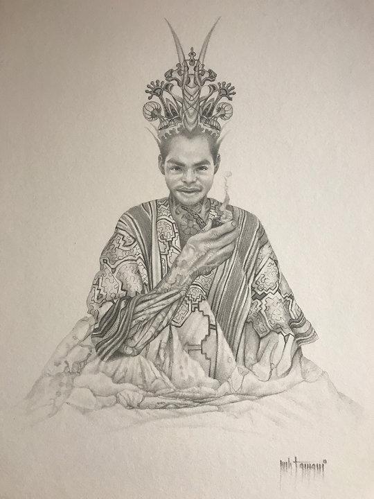 Pueblo Shipibo, pencil drawing, curandero, tamani