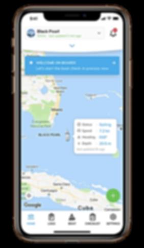 Sailsense APP screen - boat monitoring