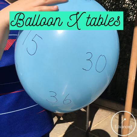 Balloon multiplication tables keepy ups!