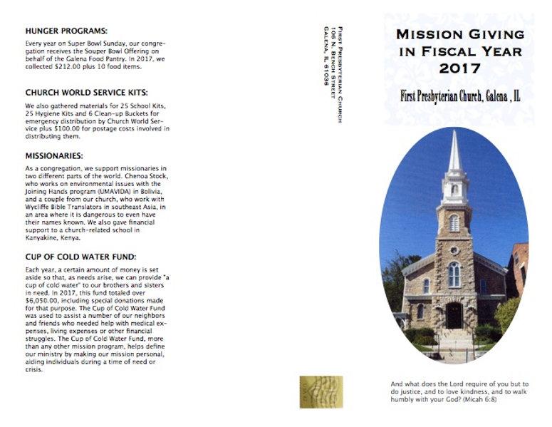 Mission Brochure front