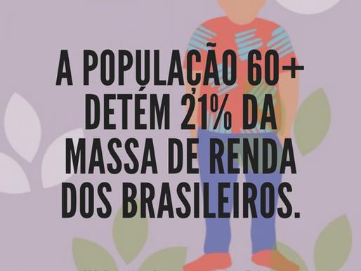 A população 60+ detém 21% da massa de renda no Brasil