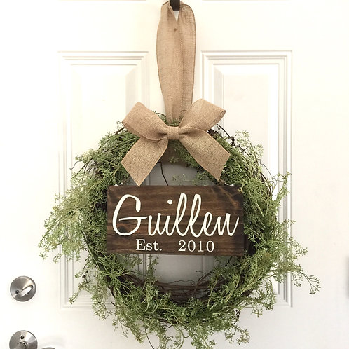 Wreath, Last Name Sign