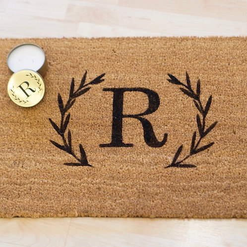 Candle + Initial- Door Mat