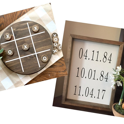 Candle or Lotions + Set- Tic Tac Toe + Special Dates Sign