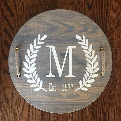 Serving Tray- Wreath Initial 18 inches