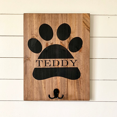 Candle or Lotion + Paw With Name + Leash Option 12x16