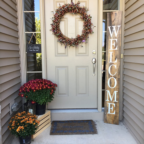 Candle or Lotion + Welcome, Porch Sign 6ft