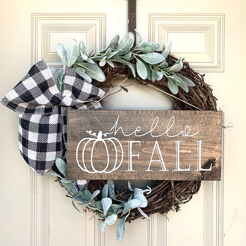 Lambs Ear- Fall Wreath (With Sign)