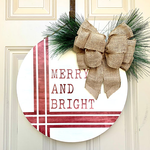 Wreath- Merry and Bright Round 18""