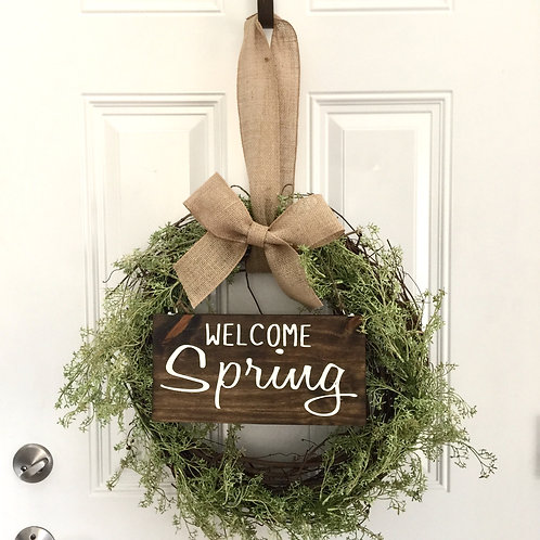Wreath, Welcome Spring Sign