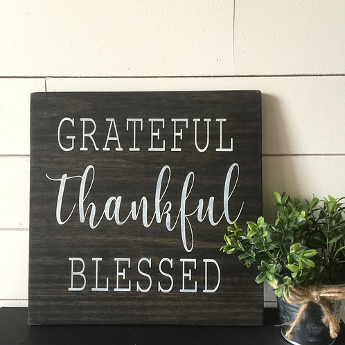 Yoga + Grateful, Thankful, blessed 12x12