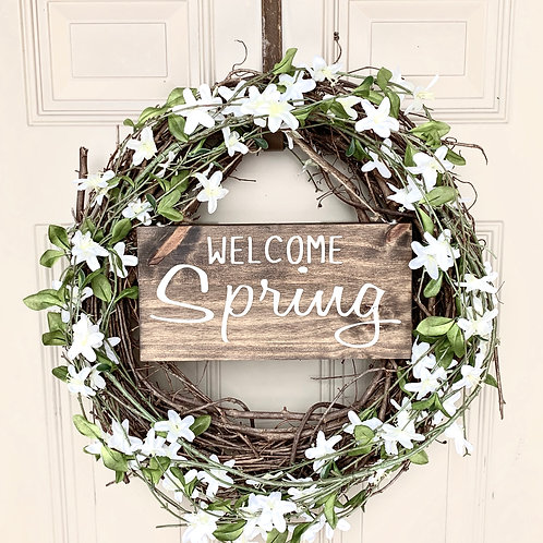 Floral Wreath, Welcome Spring Sign