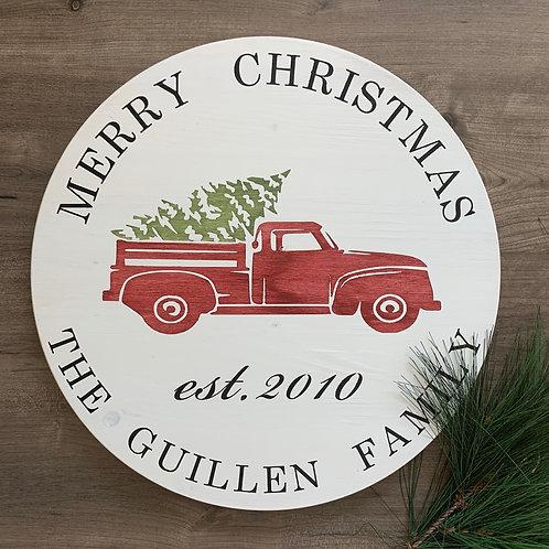 """Merry Christmas Truck- 18"""" Round"""