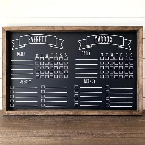 2 Child Chore Chart- Chalkboard 17x24
