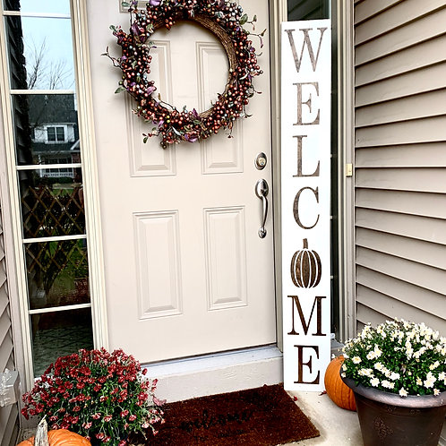 Welcome with Pumpkin, Porch Sign 3ft & 6ft