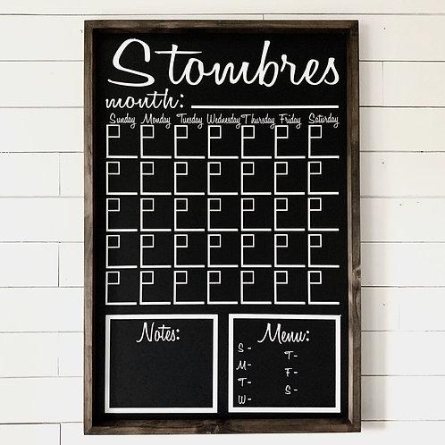 Family Calendar Chalkboard 24x36