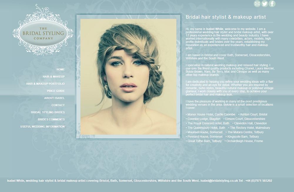 My original wedding hair & makeup website - The Bridal Styling Company