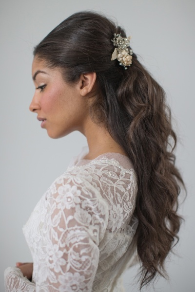 Half up half down classic bride