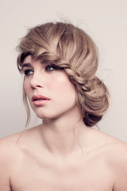 Plaited hair summer makeup for bride