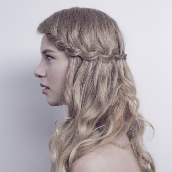 Waterfall braid plait boho bride.