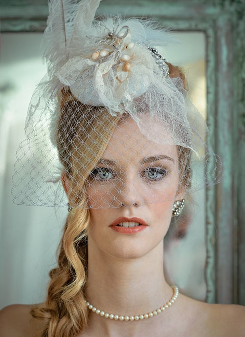Vintage bride with long blonde hair.