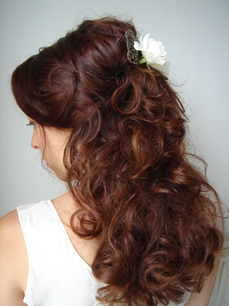 Half up half down hairstyle flowers
