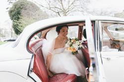 Asian bride in wedding dress