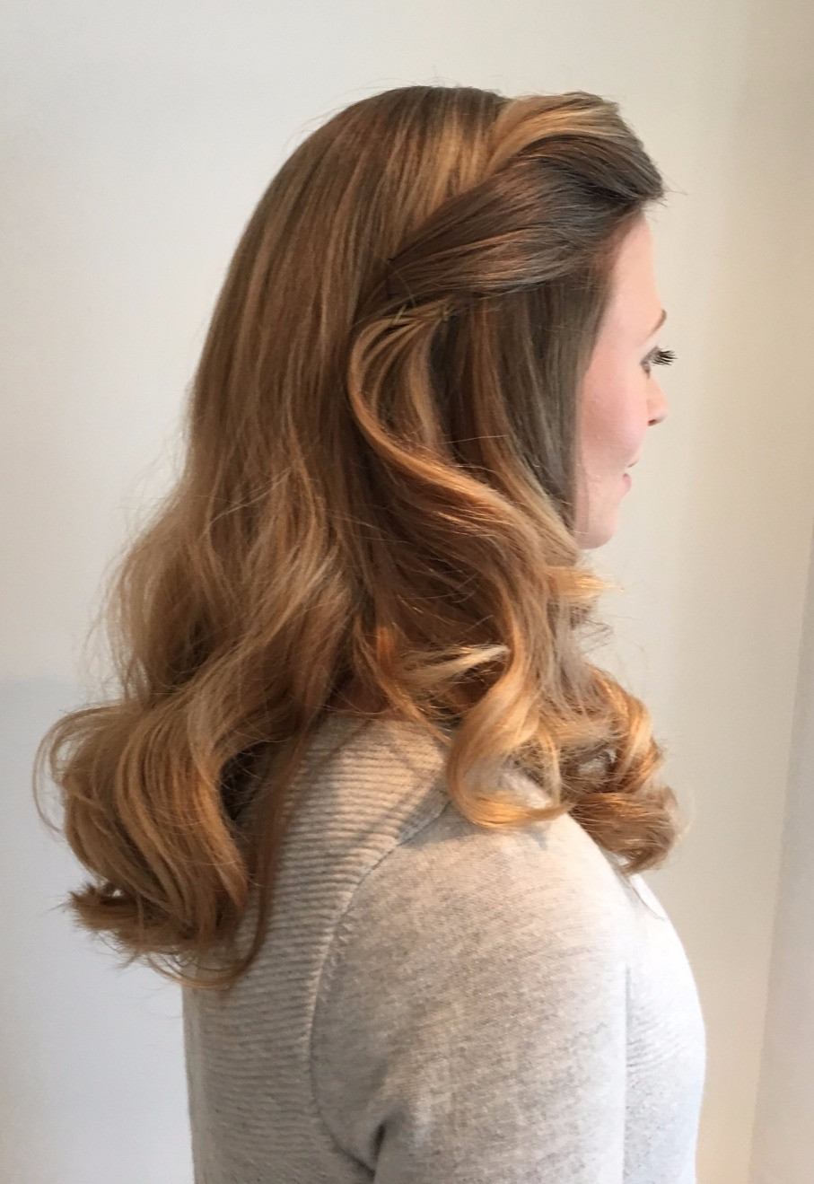 Amelia's wedding hair with vintage style waves