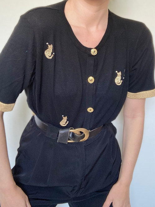 חולצת סריג golden cats
