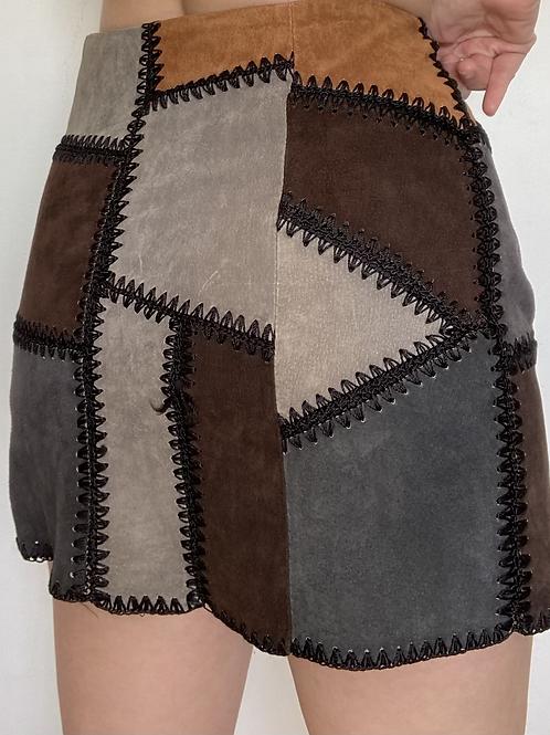 חצאית טלאי עור Zara