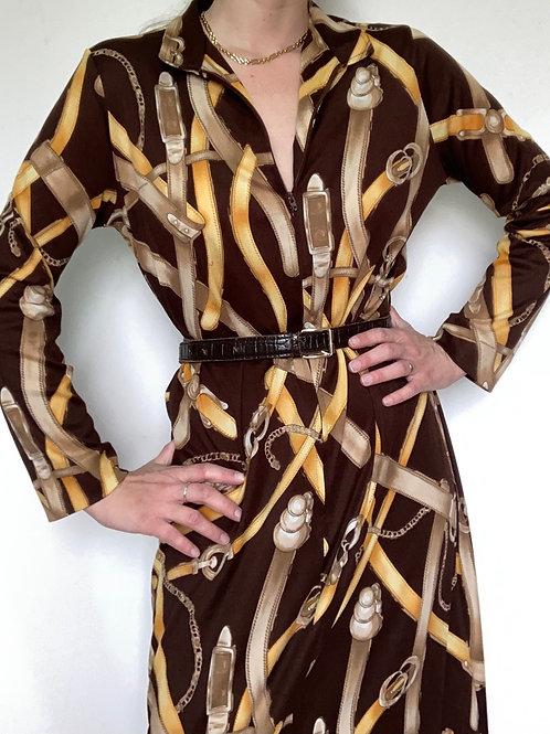 שמלת חלוק הדפס רצועות
