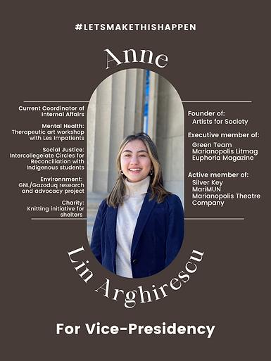 Anne Lin Arghirescu for Vice-Presidency.
