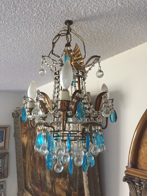 Antique french petite chandelier with two wall sconces antiquevintage antique french petite chandelier with two wall sconces aloadofball Images