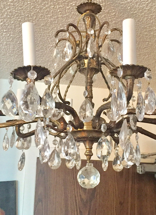 10 lights brass chandelier with crystals | antiquevintage