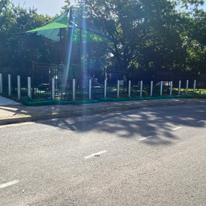 New Custom Iron Fence in Grackle Green Micro Park in Central Austin