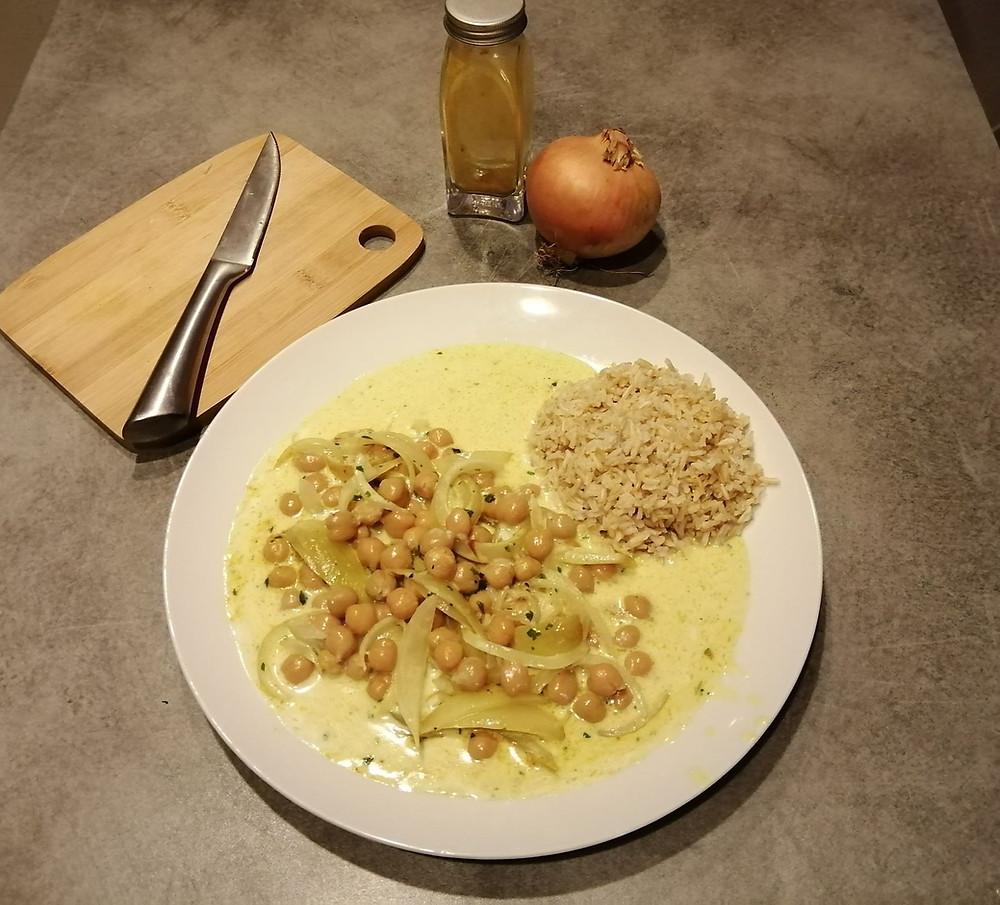 Curry de pois-chiches riz lait de coco sans gluten ni produits laitiers