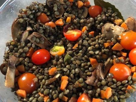 Lentilles vertes aux légumes