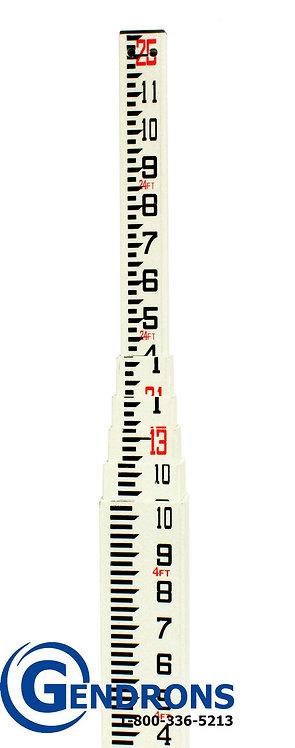 TPI 25' Fiberglass Grade Rod in Inches