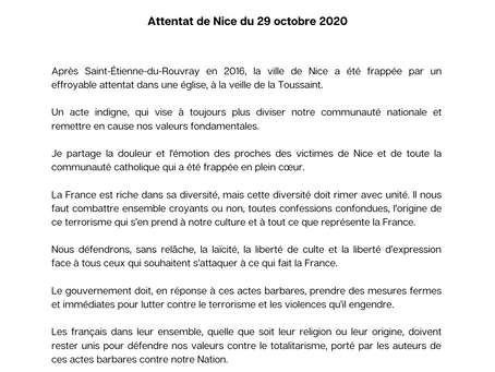 Communiqué de presse suite à l'attentat de Nice du 29 Octobre 2020