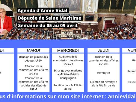 Agenda de la semaine du 05 au 09 avril 2021