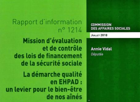 Rapport sur l'évolution de la démarche qualité au sein des EHPAD et de son dispositif d'évaluation.