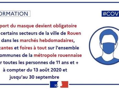 [Covid 19] Port du masque obligatoire dans la Métropole Rouen Normandie