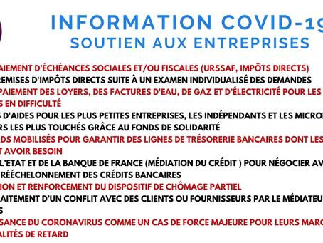 COVID-19 : mesures de soutiens aux entreprises